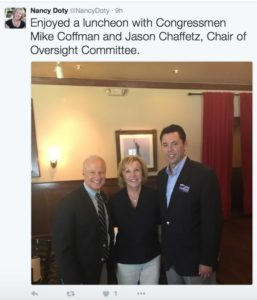 Nancy Doty Tweeted this photo alongside Rep. Mike Coffman and Rep. Jason Chaffetz in early August.